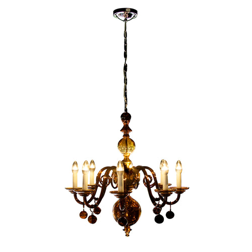Handmade Amber Glass Chandelier