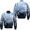 FISHING GEAR OVER PRINT BOMBER JACKET