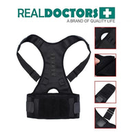 5 pices Real Doctor Posture Corrector, Shoulder Back Support Belt for Men and Women (Black) - Buy from EsyExpress.com