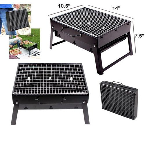 Folding Portable Outdoor Barbeque Charcoal Bbq Grill Oven Black Carbon Steel - Buy from EsyExpress.com