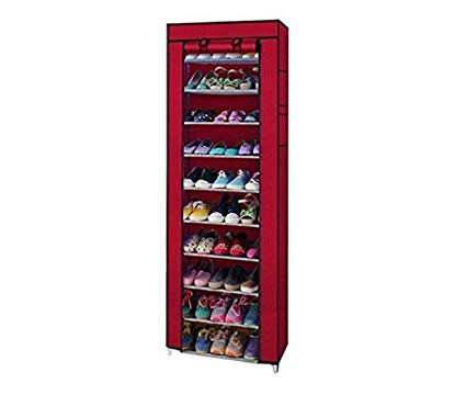 Non-Woven Fabric Collapsible Portable Foldable 10 Layer Easy Installation Shoe Rack/Cabinet, Standard Exclusive - Buy from EsyExpress.com