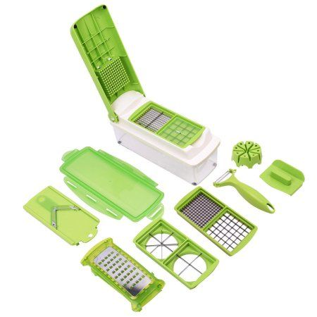 Plastic & Stainless Steel 12 in 1 Quick Vegetable Dicer, Chopper & Cutter, 12-Piece Exclusive - Buy from EsyExpress.com