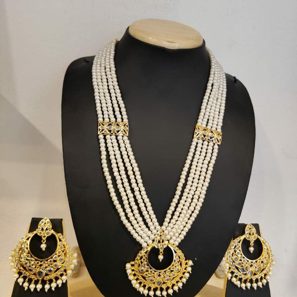 Kundan Pearls Rani Haar Necklace With Earrings - Buy from EsyExpress.com