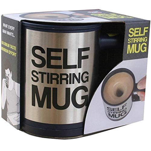 Self Stirring Stainless Steel Mug, 390 ml, Silver - Buy from EsyExpress.com