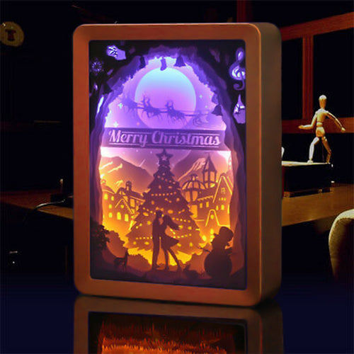 3D Christmas Paper Carving Romantic Night Lamp