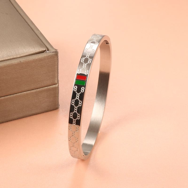 Trendy Stainless Steel Bangles Red and Green Charm Bracelets Wide Bangle for Women Lover Jewelry Pulseiras