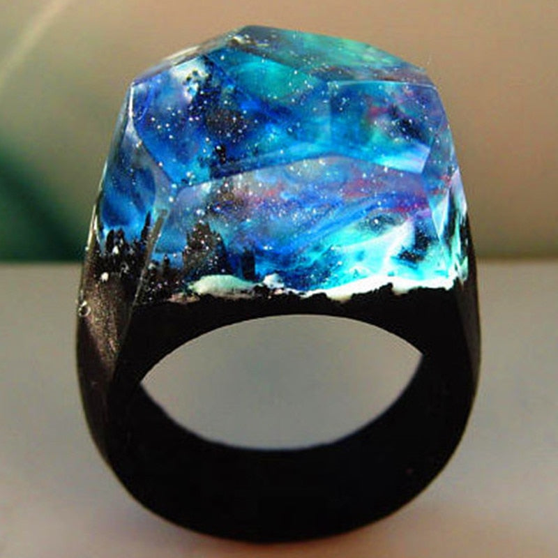 DANZE Fashion Undersea Wood Resin Ring For Women Handmade Secret Starry Sky Micro World Wooden Rings Dropshipping Jewelry