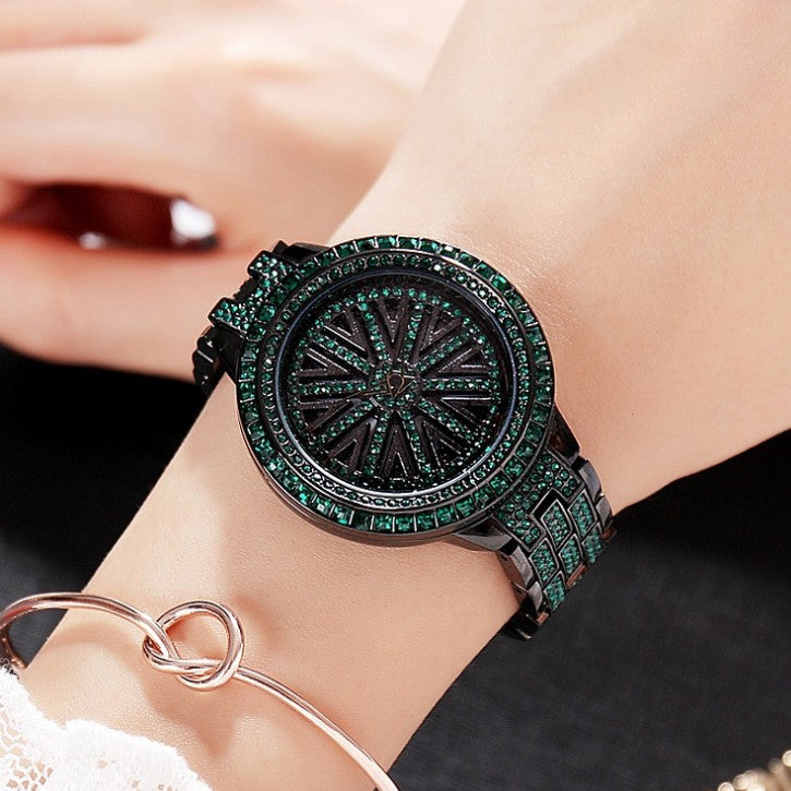 2019 Hot Women Stainless Steel Watch Lady Shining Rotation Dress Watch Big Diamond Stone Wristwatches Green Watch Clocks Hours