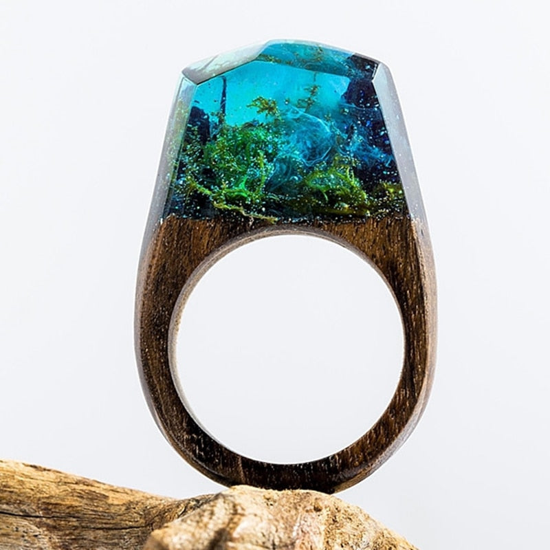 DANZE Magic Wooden Ring For Women Secret Forest Resin Inside World Wood Finger Jewelry Accessories Dropshipping Supplier Gifts