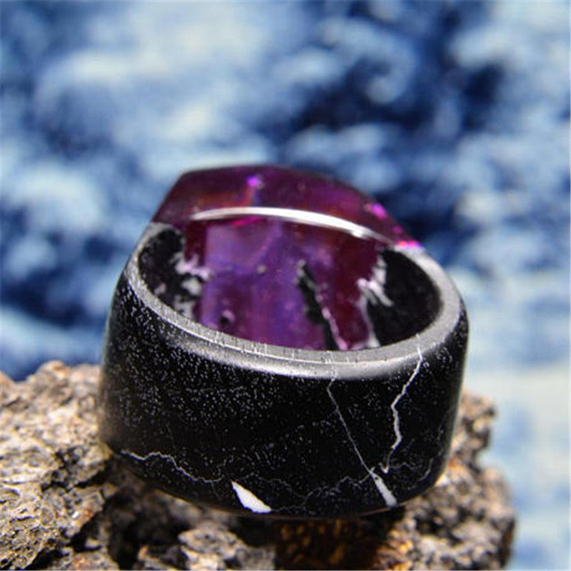 DANZE Fashion Snow Mountain Wood Resin Ring For Women Handmade Secret Micro World Luminous Wooden Rings Dropshipping Jewelry