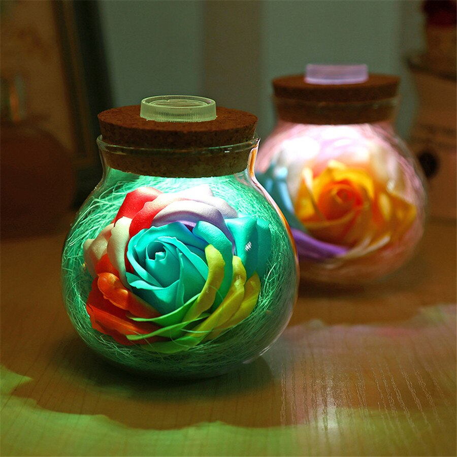 Romantic LED Rose Bottle Lamp