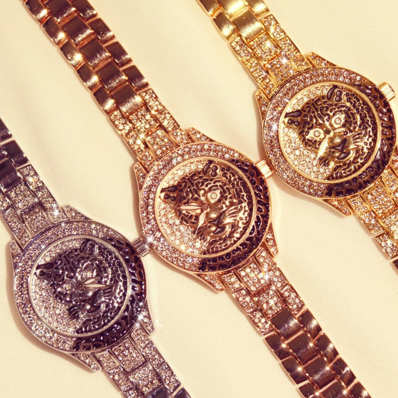 Women Watch Ladies Diamond Stone Dress Steel Leopard print Rhinestone Bracelet Wristwatch Tiger Crystal Watch relogio feminino