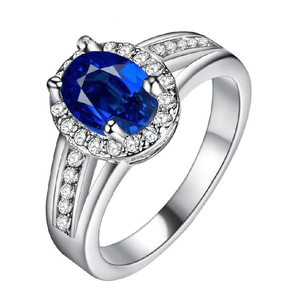 Trendy Luxury Silver Blue Stone Love Ring - HighToneJewelry