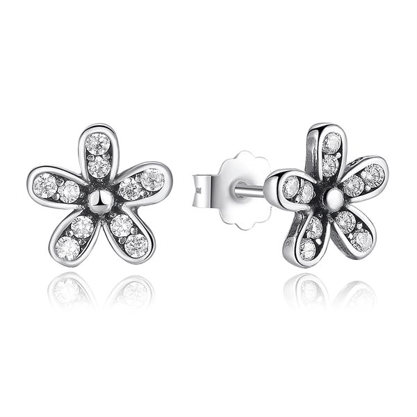 Diamond Covered Silver Daisy Earrings - HighToneJewelry