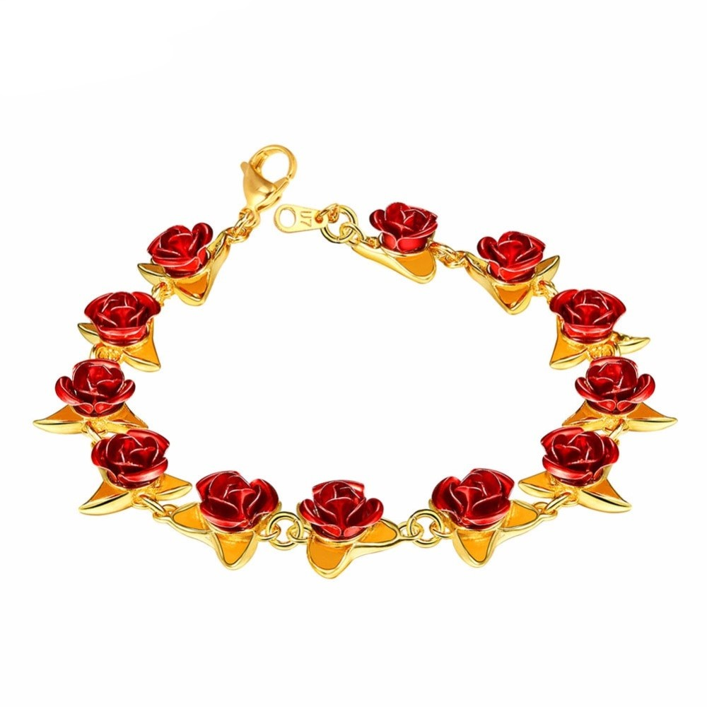 U7 Bracelet Red Rose Flowers Gold Color Wrist Chain Charm Christmas Gift For Women Fashion Jewelry Bracelets Hot Sale 2018 H1047