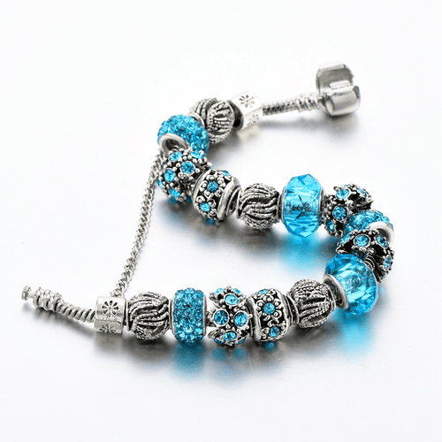 Blue Crystal Beads Charm Bracelet - HighToneJewelry