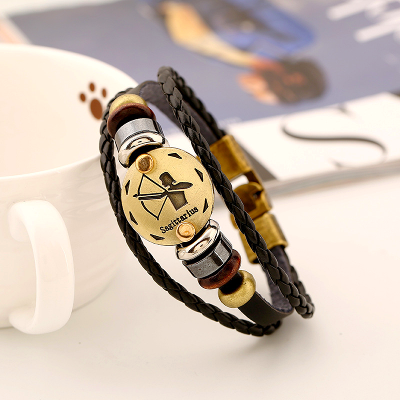 12 Constellations Leather Bracelet - HighToneJewelry