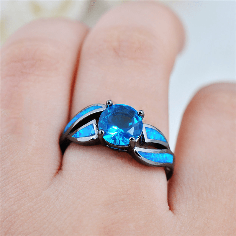 Blue Opal Ring - HighToneJewelry