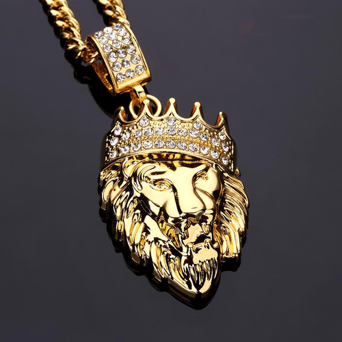 Diamond Covered Gold Lion Necklace - HighToneJewelry