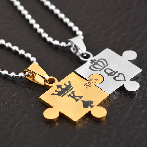 Couples Perfect Fit Puzzle Necklace - HighToneJewelry