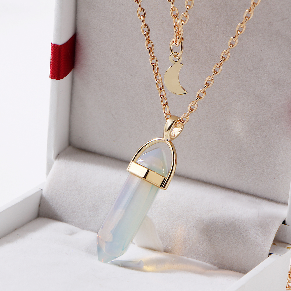 necklace plated pendant agate turquoise purple long quartz crystal natural sliced malala stone jewelry irregular amp gold products pendants