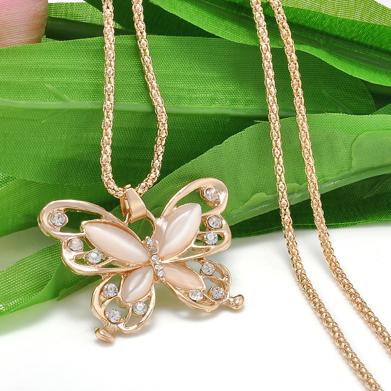 Rose Gold Butterfly Pendant - HighToneJewelry