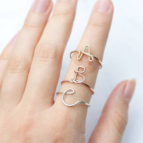 Personalized Gold Initial Letter Ring - HighToneJewelry