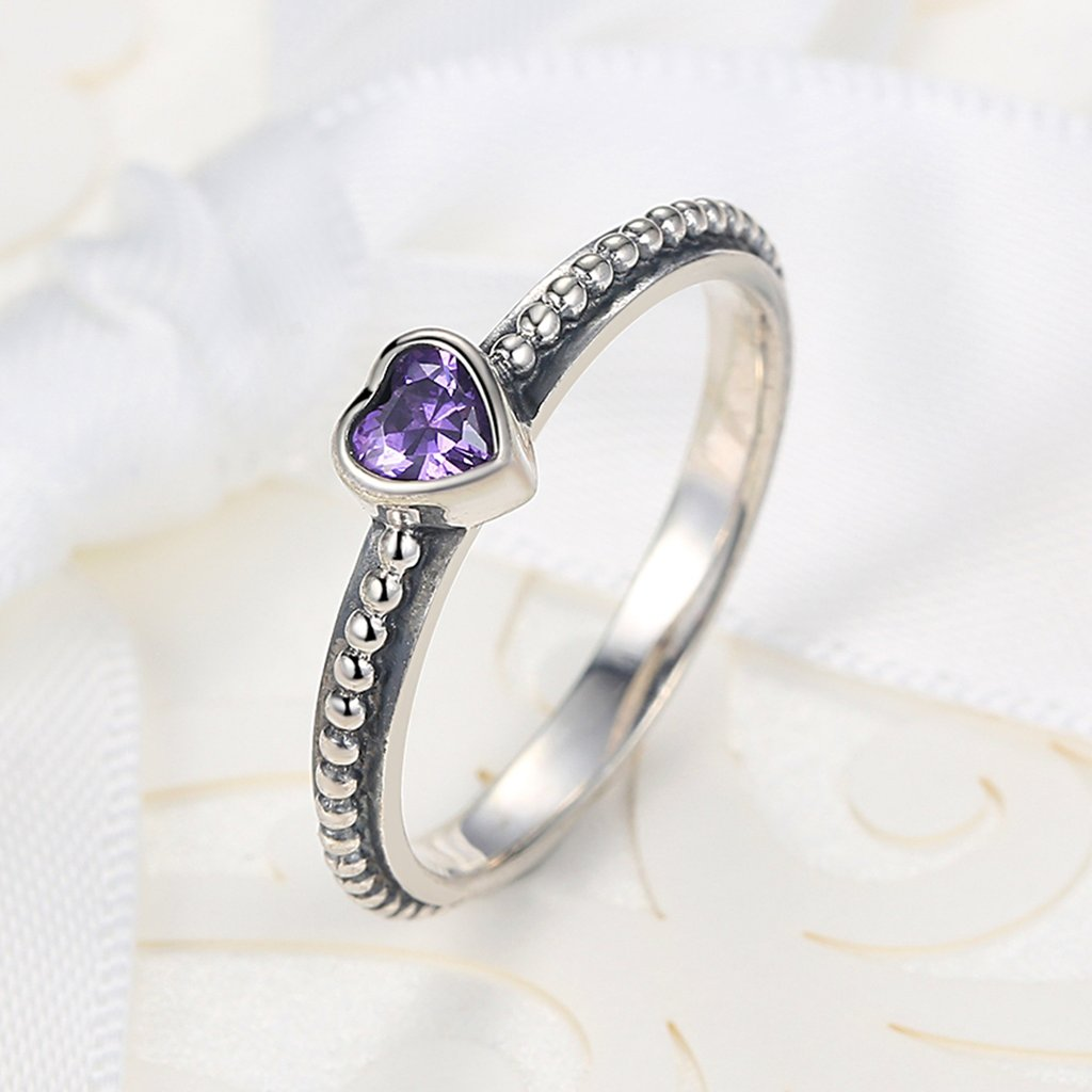 Red/Purple/White Diamond Heart Ring - HighToneJewelry