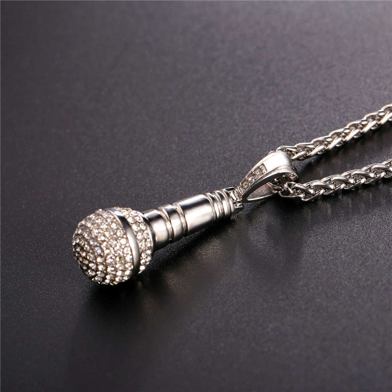 Iced Out Microphone Necklace - HighToneJewelry