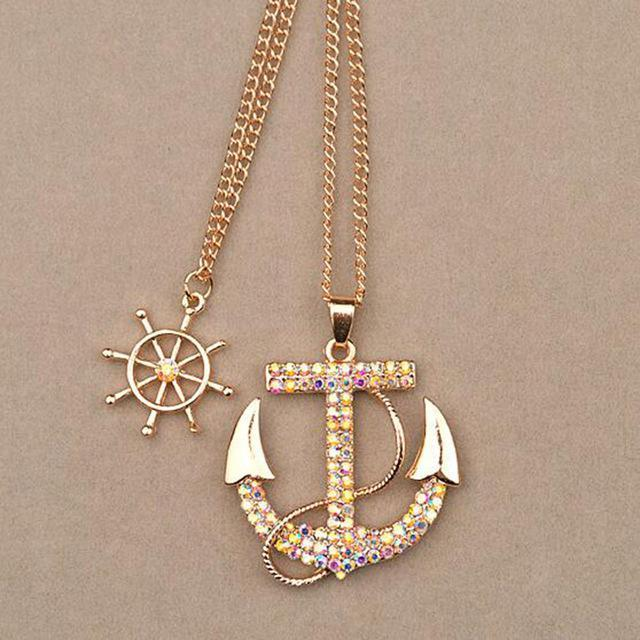 Diamond Covered Anchor Necklace - HighToneJewelry