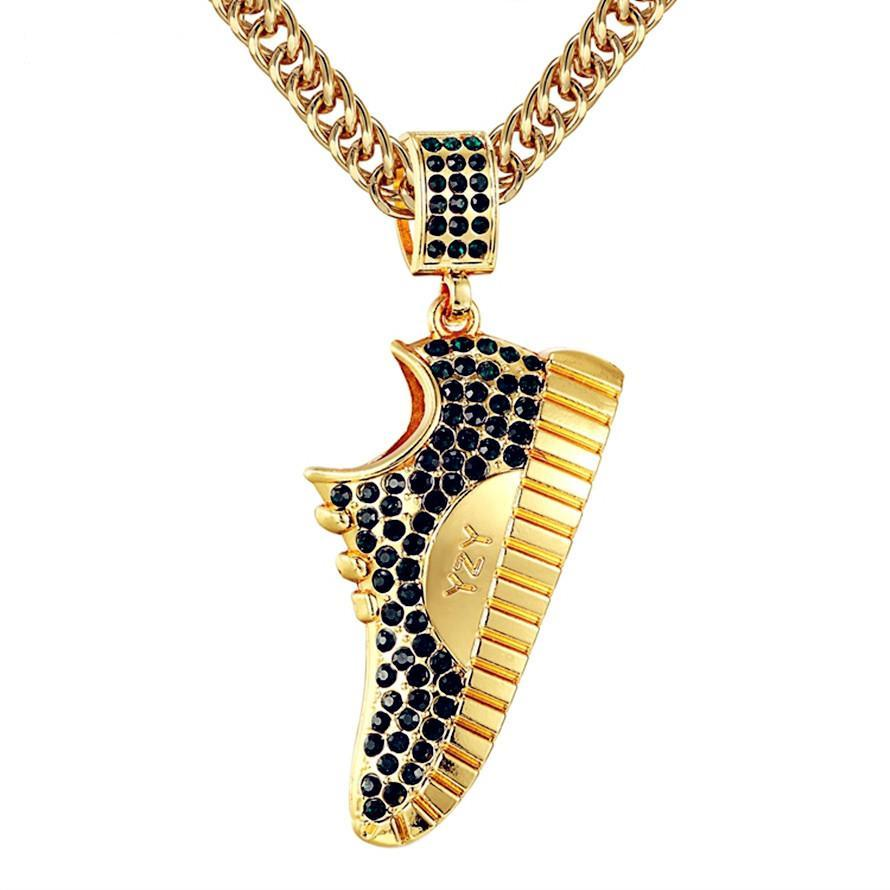Iced Out Black and Blue Crystal Shoe Pendant - HighToneJewelry