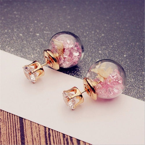 Korean Fashion Elegant Rose Glass Earrings - HighToneJewelry