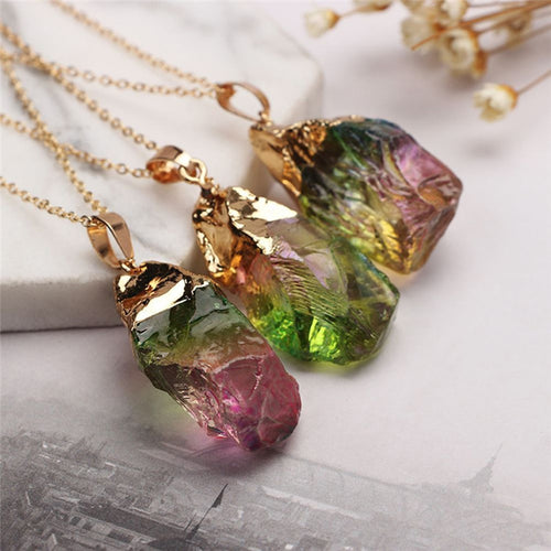 Colorful Crystal Chakra Rock Necklace - HighToneJewelry