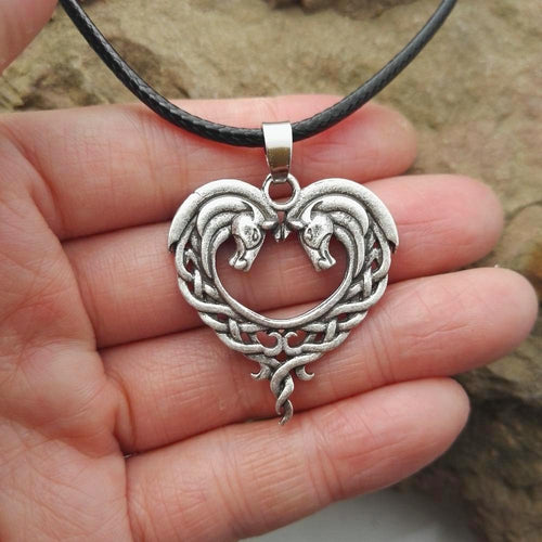 Heart-Shaped Celtic Horse Necklace - HighToneJewelry