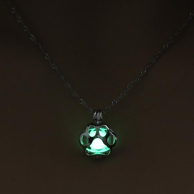 Glow-In-The-Dark Paw Pendant - HighToneJewelry