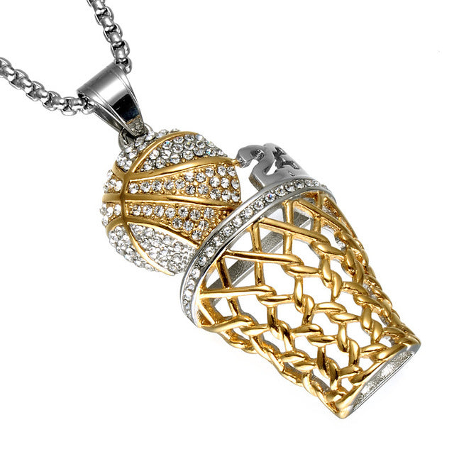 Iced Out Basketball Hoop 23 Pendant - HighToneJewelry
