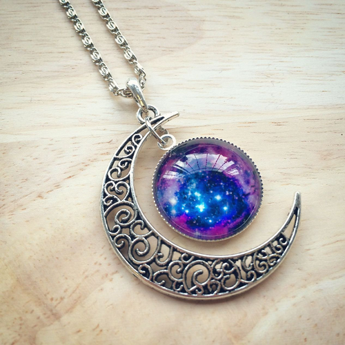 Galaxy Moon Necklace - HighToneJewelry
