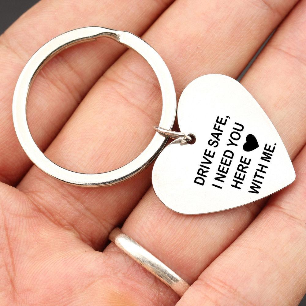 Drive Safe I Need You Here With Me Engraved Key Ring Heart Pendant Couple Gifts