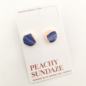 Studs large - Peach and navy swirl