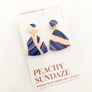 Triangles - Peach and navy swirl