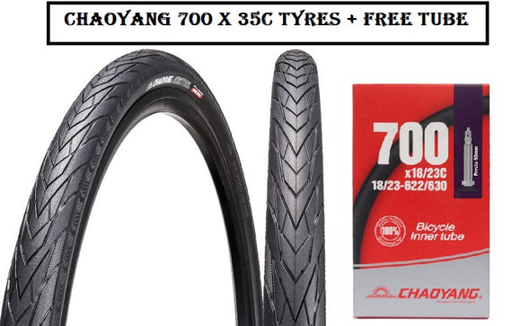 CHAOYANG 700 X 35C TYRES + FREE TUBE - Chain Driven Cycles