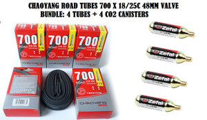 BUNDLE:4 CHAOYANG ROAD TUBES 700 X 18/25C 48MM VALVE + 4 CO2 CANISTERS - Chain Driven Cycles