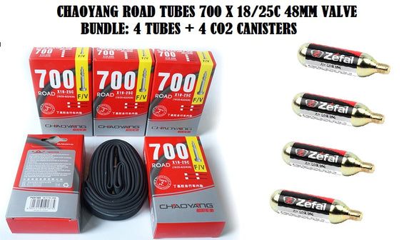 BUNDLE:4 CHAOYANG ROAD TUBES 700 X 18/25C 48MM VALVE + 4 CO2 CANISTERS