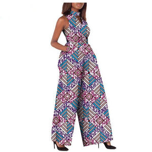 2019 african jumpsuit custom sleeveless ankle length wide leg jumpsuit Dukaiko