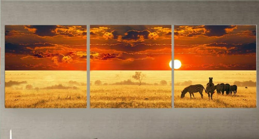 3 Panels HD Africa Nature Canvas Art Painting Dukaiko