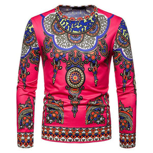 3D Modern Ethnic Print T Shirt Slim Fit Long Sleeve T-shirt Male Dukaiko