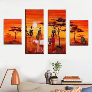 4 Pcs Art Africa Harvest Landscape Oil Painting On Canvas Dukaiko