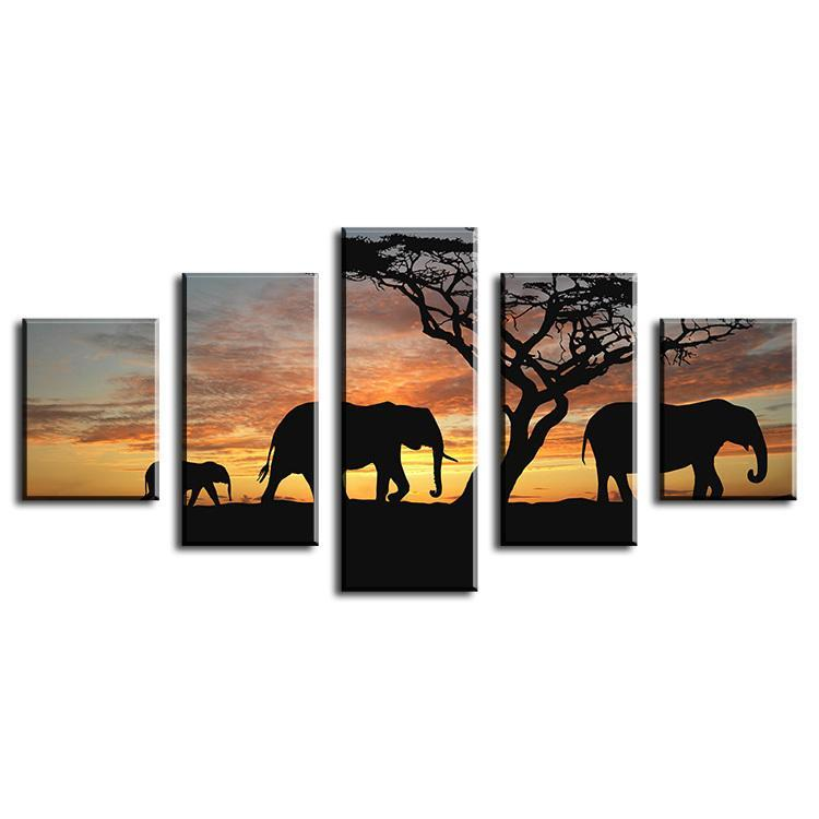 5 Pieces Elephants Walking Africa Wall Art Modern Print Canvas Painting dukaiko
