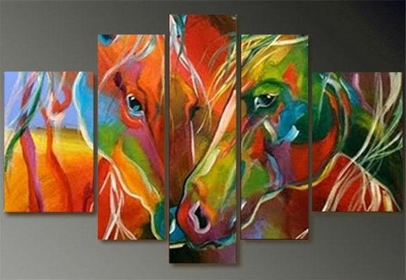 Abstract colorful horse on Canvas oil painting 100% handmade Dukaiko