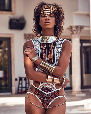 Africa One Piece Hollow Bodysuit Beach Summer Bandage Print dukaiko